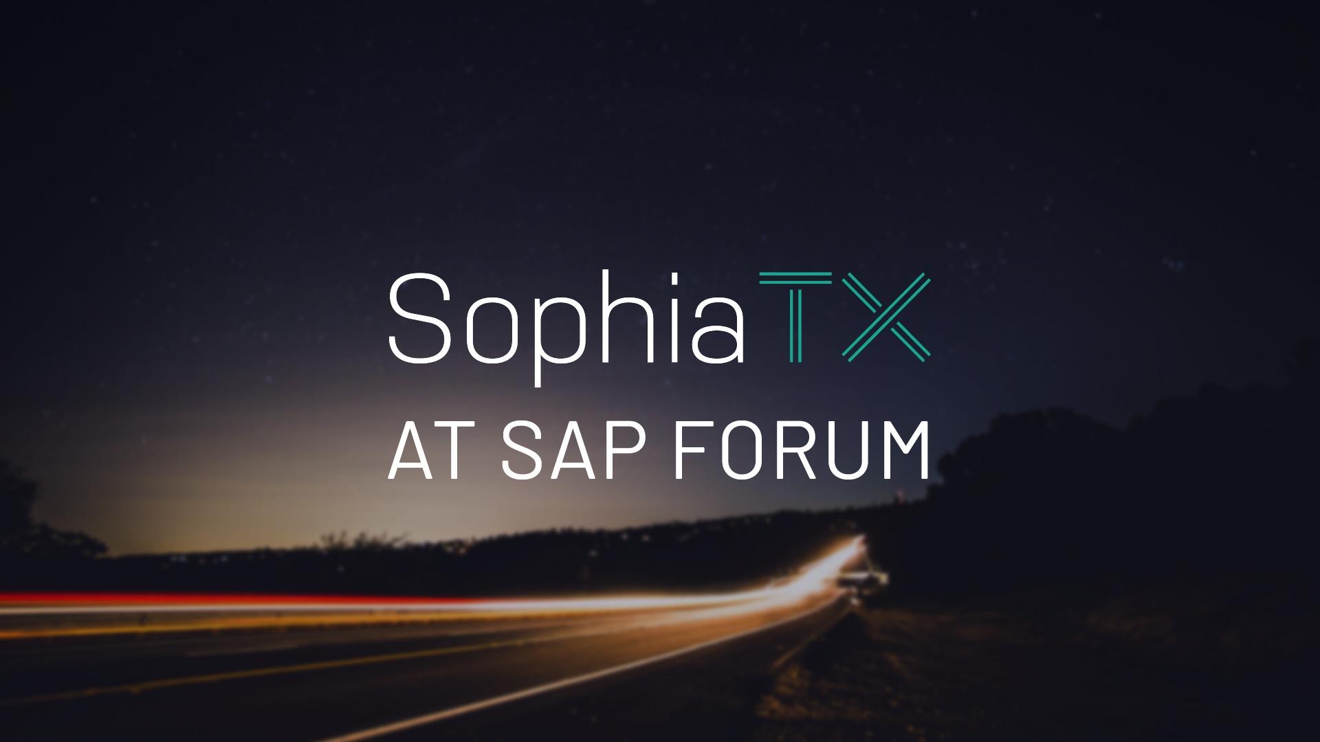 SophiaTX Presented to over 500 professionals at SAP Forum